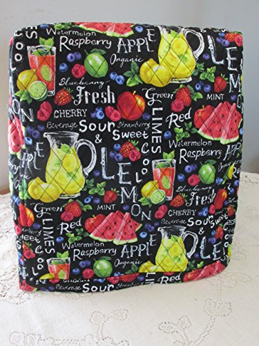 KitchenAid Mixer Cover - Farmer John's Garden Party Chalkboard Design with Strawberries Reverse Side - Reversible Quilted Kitchen Appliance Dust Cover - Size and Pocket Options