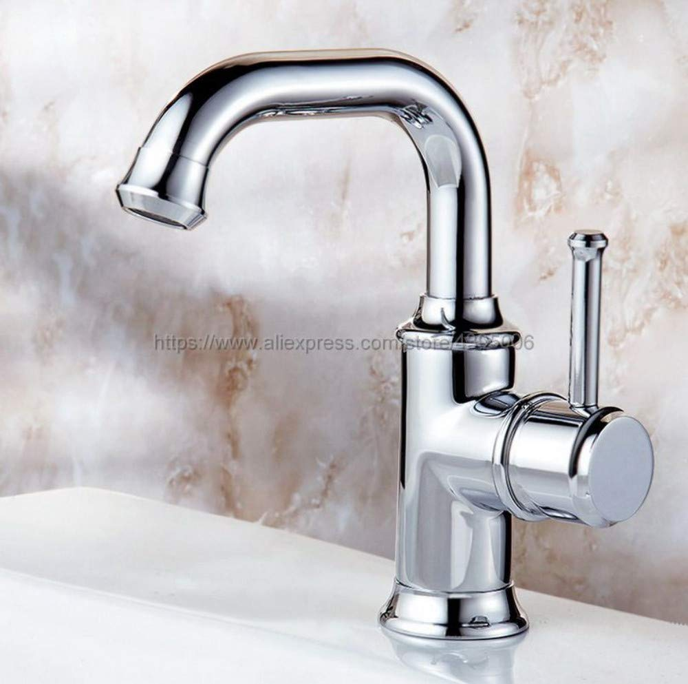 Bathroom Sink Tap Chrome Bathoom Faucet Swivel Spout Single Handles Lavatory Sink Mixer Taps Deck Mounted Hot and Cold Tap