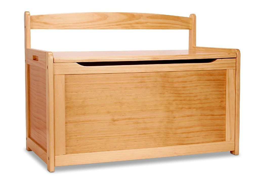 Childrens Wood Toy Chest Sturdy With Lid Safety-Hinged Lid Classic Style - Skroutz