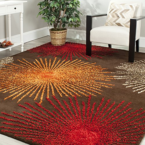 Safavieh Soho Collection SOH712B Handmade Fireworks Brown and Multicolored Premium Wool Square Area Rug (8′ Square)