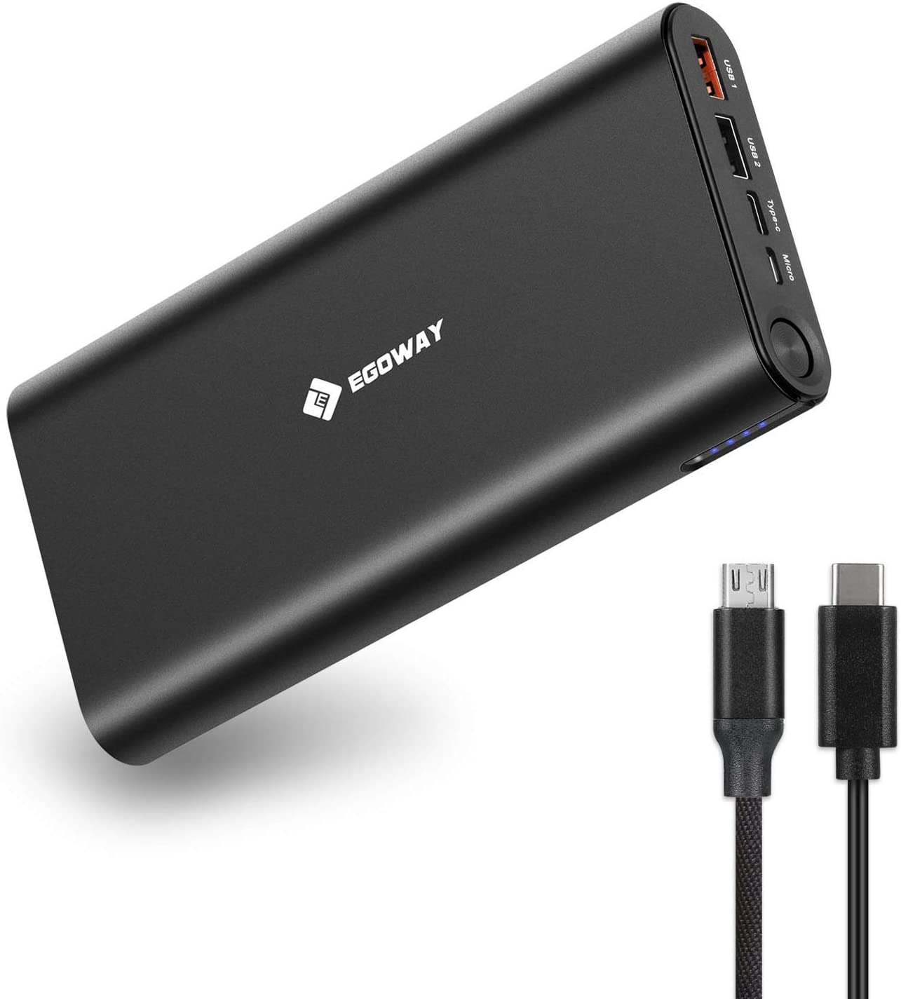 USB C Portable Charger, E EGOWAY 27000mAh Power Bank External Battery for USB C and USB A Smart Phones, Tablets, Laptops and Other Smart Devices