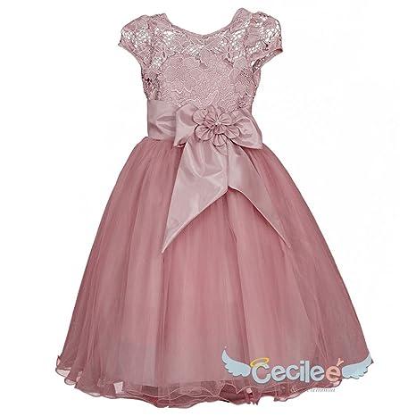 gran calidad buscar genuino lista nueva Vestido de niña para fiesta 077 (Palo de Rosa, 8): Amazon ...