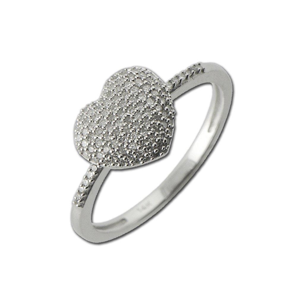 Diamond Heart Shape Promise Ring 0.20 ct tw in 14K White Gold.size 7.0