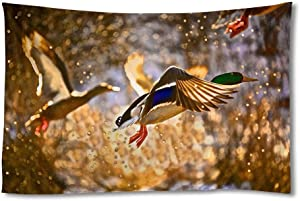 Wild Duck Flying Water Splashing Art Print Tapestries,Home Wall Decor Tapestry(60x90 inch)