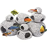 Penn Plax Stone Replica Aquarium Decoration Realistic Granite Look with Fish Hideaway 8 Piece Set