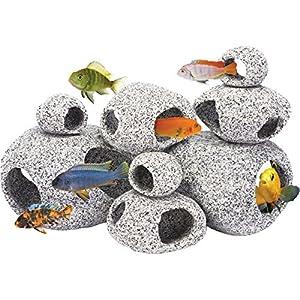 Penn Plax Stone Replica Aquarium Decoration Realistic Granite Look with Fish Hideaway 8 Piece Set 29