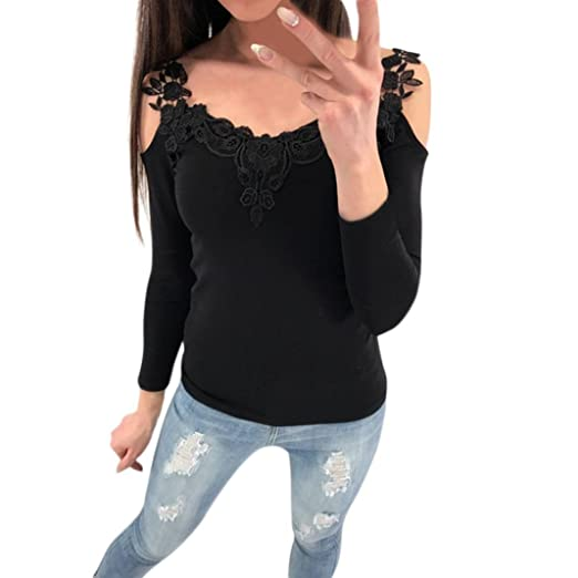 f8abaf530c221 Amazon.com  Paymenow Hot Sale Women Low Cut Floral Lace Patchwork Cold  Shoulder T Shirts Casual Spring Long Sleeve Tops Blouse  Clothing