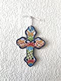 """Mexican Talavera Wall Cross 8"""" X 5.5"""" Hand Painted Ceramic Tile - Multicolor"""