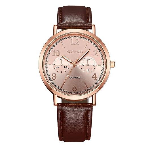 DAYLIN Relojes Mujer de Moda Correa de Piel Reloj de Pulsera Deportivo Mujer Reloj Oro Rosa Dorado Mujer Reloj Analogico de Cuarzo Joyas Regalos: Amazon.es: ...