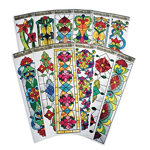 S&S Worldwide CF-13313 Vertical Stained Glass Window Clings (Pack of 12)