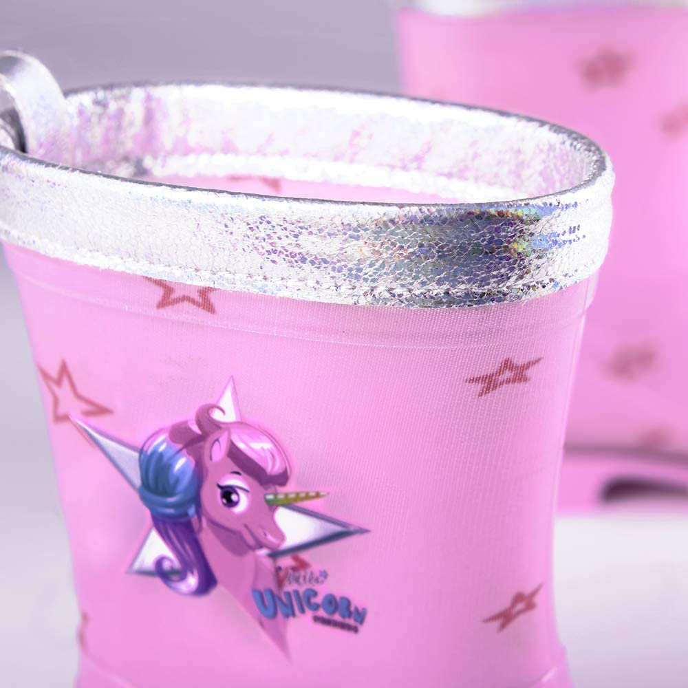 Botines Infantiles Impermeables de Moda Rosa Estampados Estrellitas Suela Antideslizante y Ribete Plateado Iridiscente 5 Tallas Cool Kids PERLETTI Botas de Agua Ni/ña Unicornio