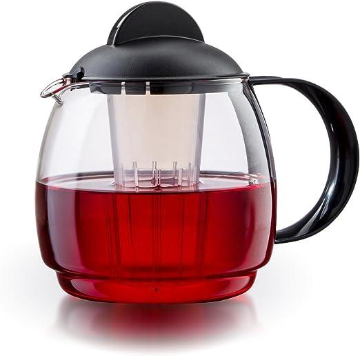 Tetera de cristal para microondas jarra 1, 2L con filtro: Amazon ...