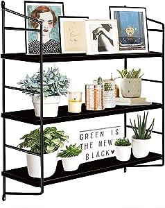 BOLUO Black Wall Shelf Bathroom Floating Shelves Mounted Shelving Bedroom Bookcase 3 Tier 24 Inch (WS610-B)