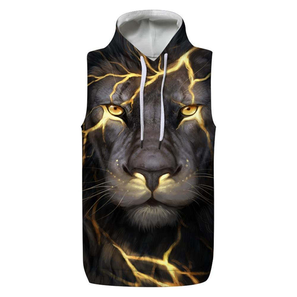 SAINDERMIRA Unisex Fashion 3D Digital Galaxy Hooded Waistcoat Vests Sleeveless T-Shirt with Pockets(Angry Lion,XXL/3XL)
