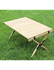 Benewin Camping Folding Wood Table- Portable Foldable Outdoor Picnic Table,Cake Roll Wooden Table in a Bag for Picnic, Camp, Travel, Garden BBQ Accessories