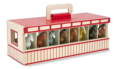 Melissa & Doug Take-Along Show-Horse Stable Play Set With Wooden Stable Box and 8 Toy Horses