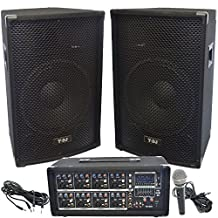 """Y-DJ PA Speaker System 8 Channel 200w USB/SD Powered Mixer & Amplifier, Pair of 22"""" Speaker Cabinets, Microphone & Cables"""