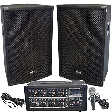 Y-DJ PA Speaker System 8 Channel 200W USB/SD Powered Mixer and Amplifier, Pair of 22