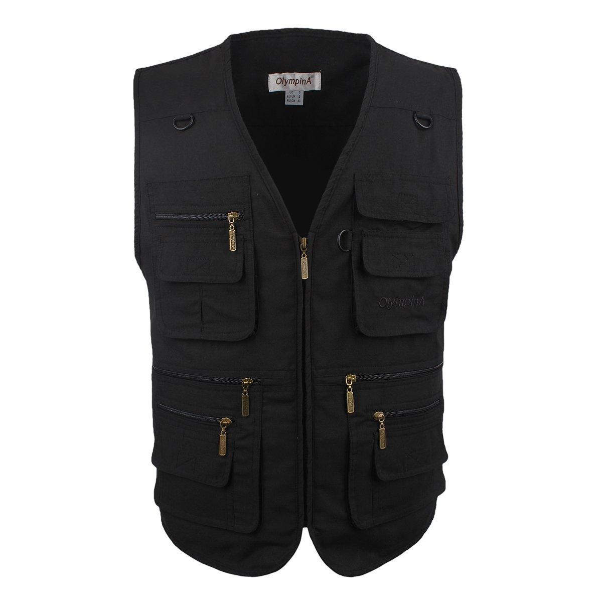 LUSI MADAM Men's Outdoors Travel Sports Pockets Vest (Black, US S/Asia XL)