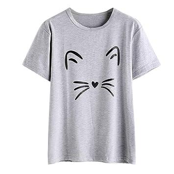 cb411887ae4 Sunday77 Women Summer Cat Printed Short Sleeve Shirts Sexy Fashion Crewneck  T Shirt