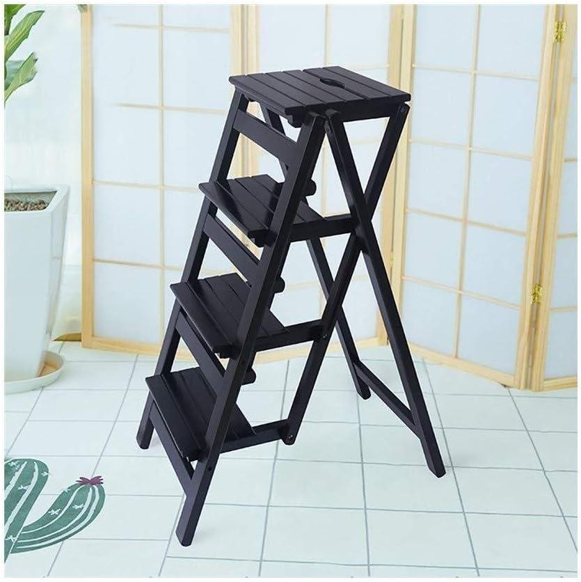 LY-Escalera Madera sólida plegable taburete de cocina portátil Escabel 4 pasos for subir la escalera plegable Flower Stand Estantes (Color : Negro): Amazon.es: Bricolaje y herramientas