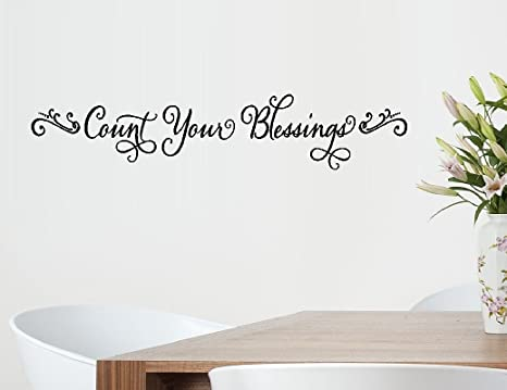 Bestpriceddecals Count Your Blessings 2 Wall Decal Home Decor 6 X 30 Home Kitchen
