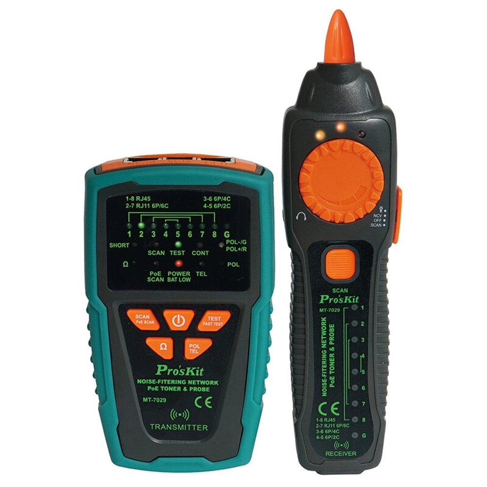 Pro'sKit MT-7029-C Noise-Filtering Network PoE Toner & Probe Tester Kit, Multifunction RJ11 RJ45 Line Finder Cable Tester for Network Cable Collation, Telephone Line Test, Continuity Checking Pro' sKit