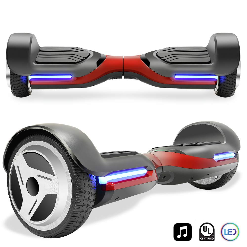 Cho Electric Self Balancing Dual Motors Scooter Hoverboard with Built-in Speaker and LED Lights - UL2272 Certified (-Black/Red)