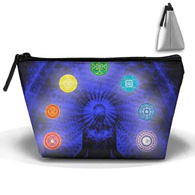 Chakras Yoga Trapezoid Cosmetic Pouch Cosmetic Bag Durable Handle For Girls Travel Cosmetic Bags