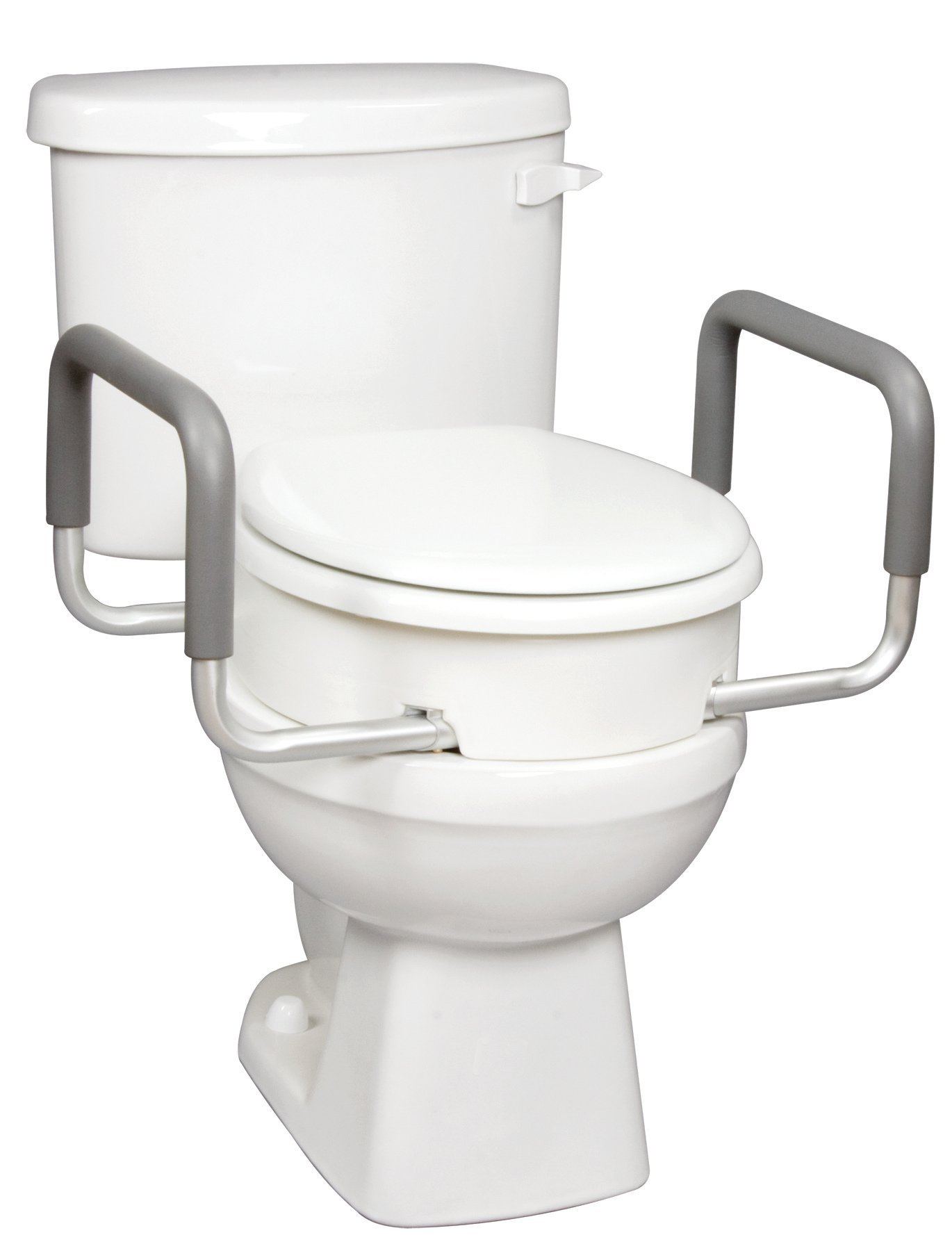 Carex 3.5 Inch Raised Toilet Seat with Arms - For Round Toilets - Elevated Toilet Riser with Removable Padded Handles, Easy On and Off, Support 250 lbs