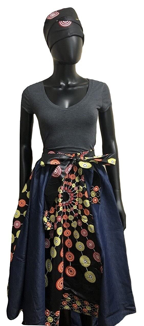 1d035c427d Women s Traditional African Print Short Denim Skirt (1) at Amazon Women s  Clothing store