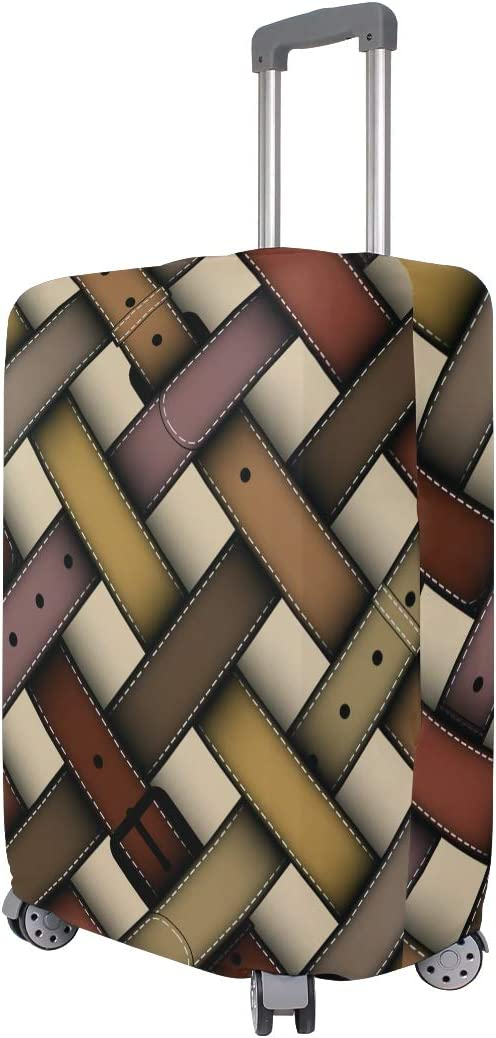 Travel Luggage Cover Retro Brown Pink Belt Crisscross Suitcase Protector