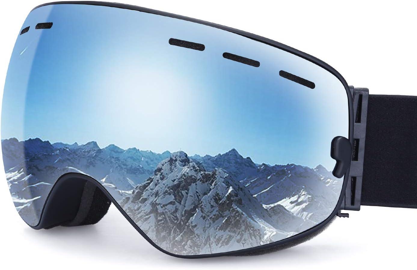 G4Free Ski Snowboard Goggles Men Women Winter Sports Eyewear Frameless Cool Interchangeable Detachable Dual Lens Anti-Fog OTG UV Protection Lens