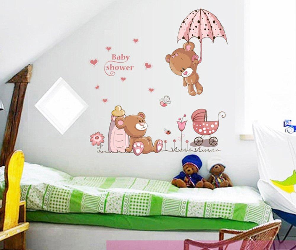 Ufengke Osos Lindos Del Beb Y Flores Paraguas Pegatinas De Pared  ~ Murales Decorativos Para Habitaciones De Adultos
