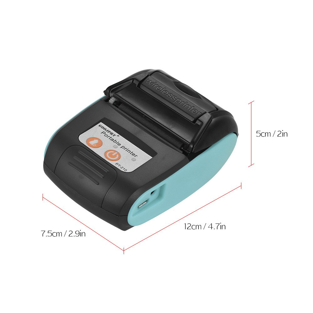 10 Paper Rolls Deofficially GOOJPRT PT-210 Portable Thermal Printer Handheld 58mm Receipt Printer for Retail Stores Restaurants Factories Logistics