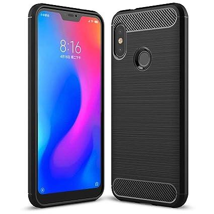 online store f864e 0d22b REALIKE Mi Redmi Note 6 Pro Back Cover, Flexible Carbon Fiber Back Case for  Mi Redmi Note 6 Pro {Black}