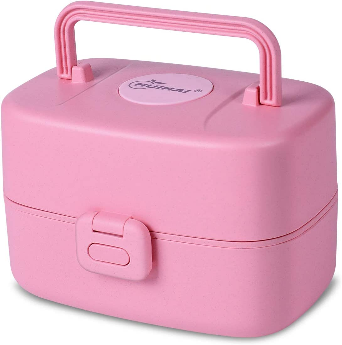 Bento Lunch Box Food Container Japanese Snack Box for Toddler Valentines Gifts for Kids (Pink-A)