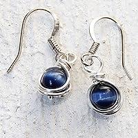 Casual Wear Navy Blue Drop Earrings - Handmade Wire Wrapped Jewelry