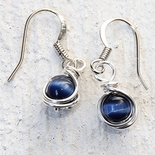 Handmade Wire Rings - Casual Wear Navy Blue Drop Earrings - Handmade Wire Wrapped Jewelry
