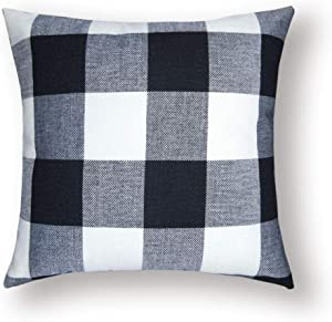 Anna Homey Decor White and Black Pillows Decorative Cushion Shams Pillowcase Farmhouse Decor Pillow Case Covers with Zipper for Sofa Bedroom Living Room Home Decor,Pillow Covers 18x18 Set of 1