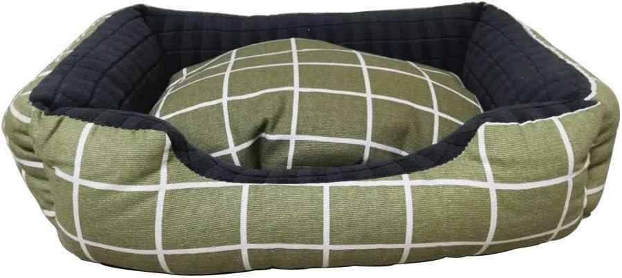 MMAWN グリーングリッド整形外科犬用ベッド、余分な快適な綿パッド入りリムクッション、滑り止め底(64 * 55 * 15 CM)