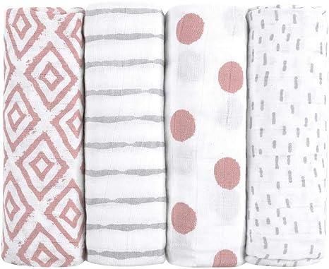 Muselinas para bebés de emma & noah, paquete de 4, 100% algodón, 80 cm x