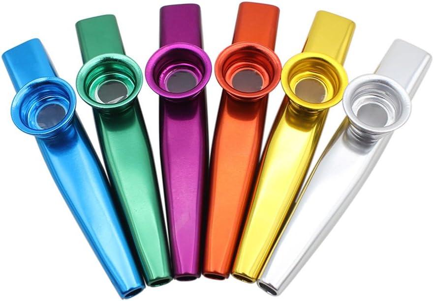 6 Stück Metall Kazoo Membran Instrument Metallkazoo in 6 Farben Geschenk Set