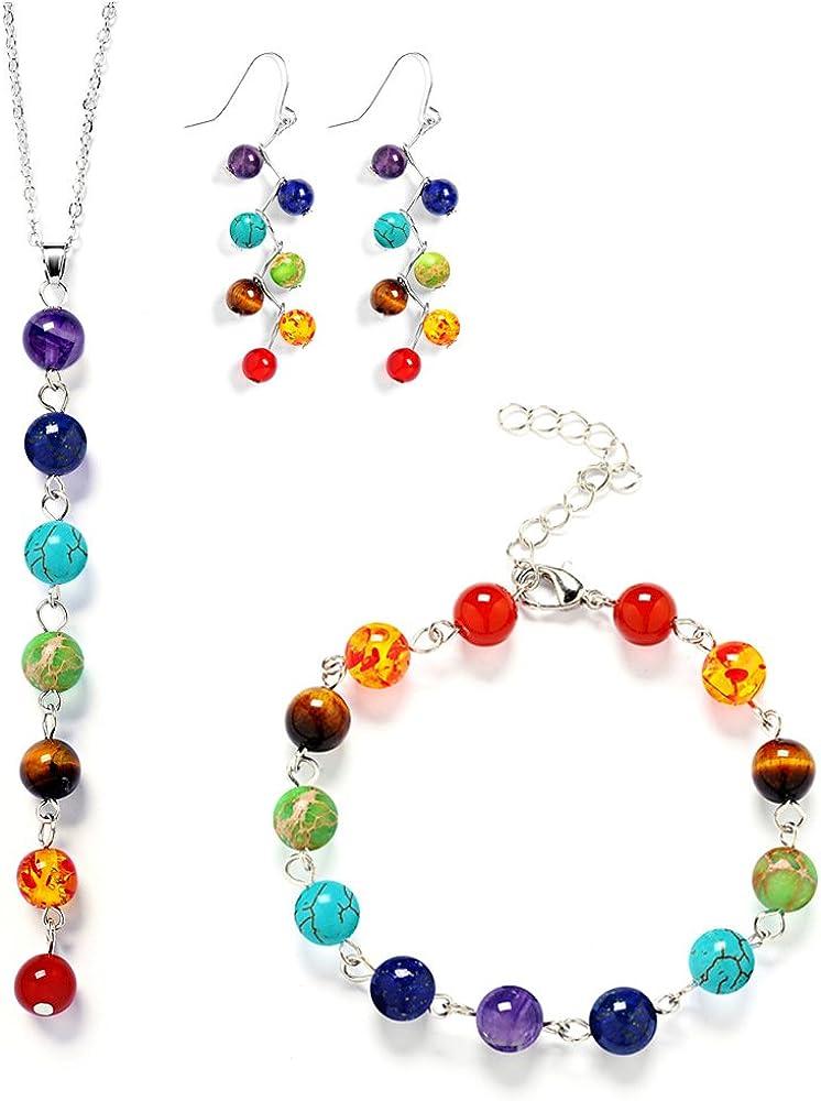 Jubling Pulsera de Piedra Chakra + Pendientes en Piedra + Collar Conjunto Joyas Perlas Redondas en ágata de Cristal