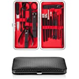 Newdora Manicure Nail Clipper Set 17-Piece Nail Scissors Travel Set Stainless Steel Nail Care with Leather Case