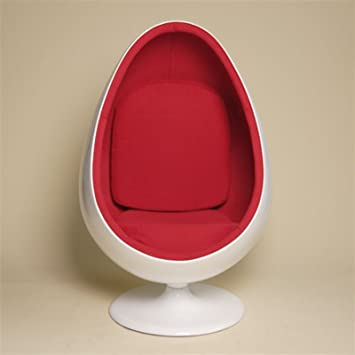 Exceptional RETRO POD EGG CHAIR Swivel Lounge / Office / Living Room From XTRADEFACTORY  White Red