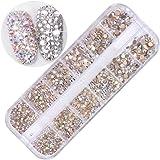 Fashionwu 3D Nail Art Diamonds Decoration DIY Nails Mixed Size Crystal, White, 12 Box