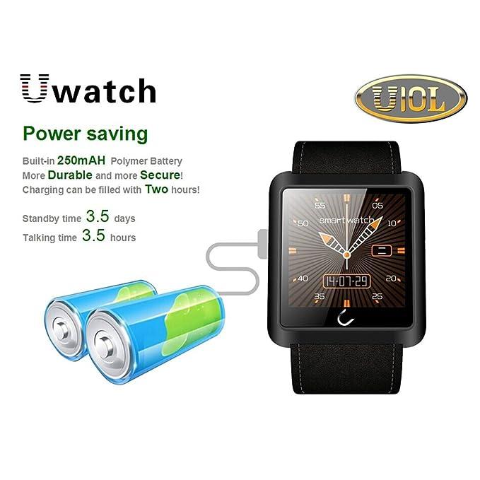 Amazon.com: Snowleopard U10 Bluetooth Smart Watch Leather ...