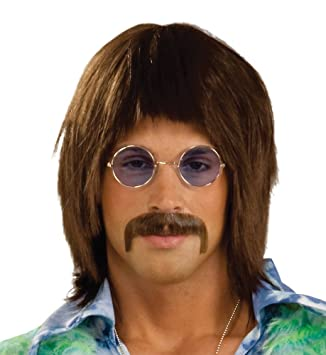 NEW HIPPY LENNON BROWN WIG 60S FANCY DRESS MENS (peluca)