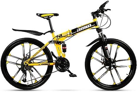 Adulto Bicicleta de montaña, Doble suspensión Plegable Ciudad de Bicicletas, bicis de Doble Freno de Disco de Nieve, 26 Pulgadas de aleación de magnesio Diez Cuchillos Ruedas,C,24 Speed: Amazon.es: Deportes y aire